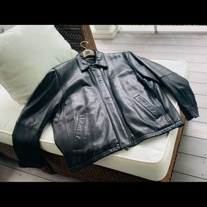 Men's Large Stunning Black Leather Jacket
